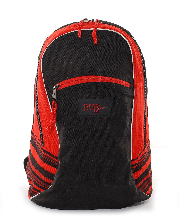 PUG Kımrızı Detaylı Sırt Çantası 0025-2 Kırmızı - Siyah
