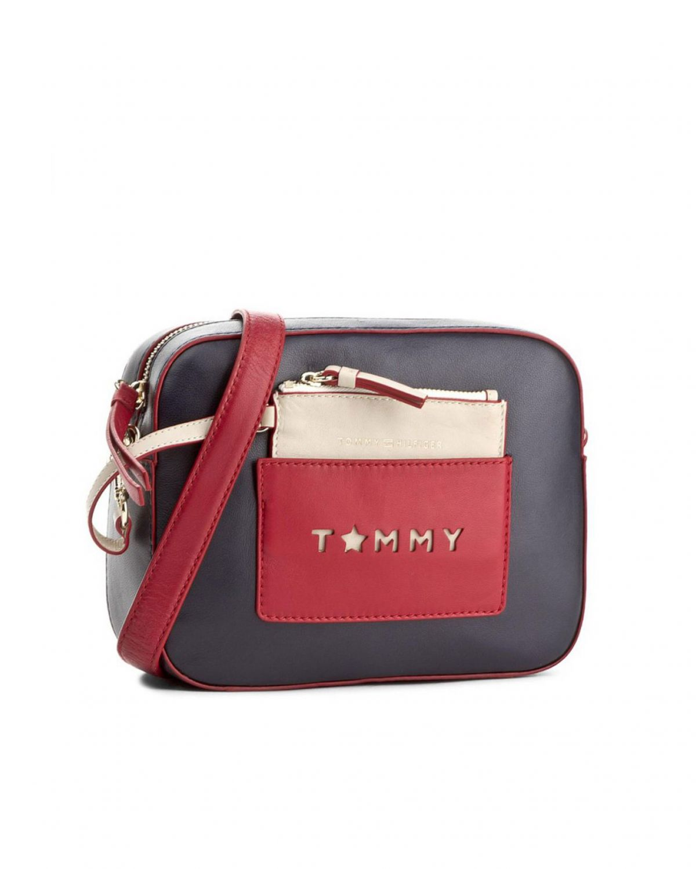 Tommy Hilfiger Iconic Camera Bag Leather Cb Kadın Çantası AW0AW04658 Lacivert - Kırmızı